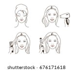 woman use blow dryer  comb and... | Shutterstock .eps vector #676171618