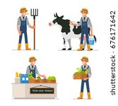 farmer working at farm and... | Shutterstock .eps vector #676171642