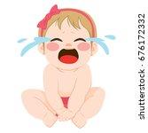 cute little baby girl angry... | Shutterstock .eps vector #676172332