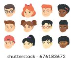 set of caucasian  african and... | Shutterstock .eps vector #676183672