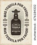 vintage mas tequila por favor ... | Shutterstock .eps vector #676184332