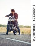motorcyclist with a cafe racer... | Shutterstock . vector #676200046