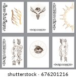a set of cards with a style of... | Shutterstock .eps vector #676201216