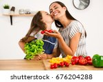 shot of a mother and daughter... | Shutterstock . vector #676204288