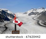 Salmon Glacier with Canada Flag.