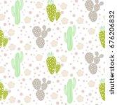 Cactus Desert Vector Seamless...