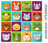 animal muzzle set icons in flat ... | Shutterstock .eps vector #676208032