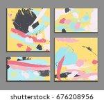 modern art brush strokes... | Shutterstock .eps vector #676208956