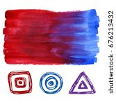 red and blue ombre watercolor... | Shutterstock . vector #676213432