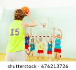 basketball team defending hoop... | Shutterstock . vector #676213726