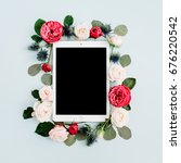 flat lay floral frame with... | Shutterstock . vector #676220542