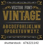 Stock vector vector vintage label font retro font 676221142