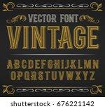 vector vintage label font.... | Shutterstock .eps vector #676221142