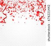 red confetti  serpentine or... | Shutterstock .eps vector #676221442