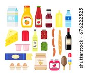 set of supermarket and grocery... | Shutterstock .eps vector #676222525