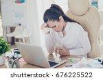 flu at work. tired sick...   Shutterstock . vector #676225522