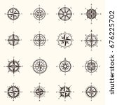 set of vintage isolated compass ... | Shutterstock .eps vector #676225702
