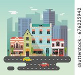 city or town landscape with... | Shutterstock .eps vector #676225942