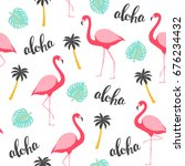 flamingo seamless pattern.... | Shutterstock .eps vector #676234432