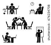 stick figure office poses set.... | Shutterstock .eps vector #676234708