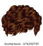 trendy curly hairs  ginger... | Shutterstock .eps vector #676240735