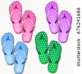 set of realistic beach slippers ... | Shutterstock .eps vector #676241686
