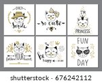 vector card series with cute... | Shutterstock .eps vector #676242112
