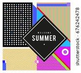 trendy flat geometric vector... | Shutterstock .eps vector #676242478