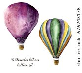 Watercolor Hot Air Balloon Set...