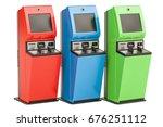 digital touchscreen terminals....   Shutterstock . vector #676251112