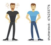 angry and happy man. flat... | Shutterstock .eps vector #676253776