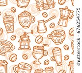 coffee seamless pattern with... | Shutterstock .eps vector #676254775