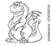 cartoon dragon line art vector... | Shutterstock .eps vector #676258516