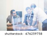 cheerful corporate business... | Shutterstock . vector #676259758