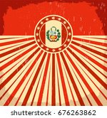 peru vintage old poster with... | Shutterstock .eps vector #676263862