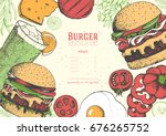 gourmet burgers and ingredients ... | Shutterstock .eps vector #676265752