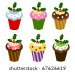 Set of six colorful Christmas cupcakes. Vector illustration - stock vector