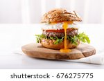 Close Up Of Beef Burger On...