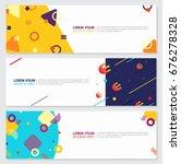 memphis style banner design set ... | Shutterstock .eps vector #676278328