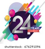 24 years anniversary logo with... | Shutterstock .eps vector #676291096