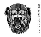 lion wearing motorcycle helmet  ... | Shutterstock . vector #676291702