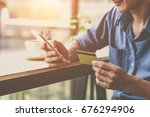 man using mobile smartphone and ...   Shutterstock . vector #676294906