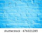 Abstract Blue Brick Wall...