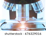 close up shot of microscope at... | Shutterstock . vector #676329016