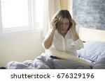very stressed exhausted asian...   Shutterstock . vector #676329196