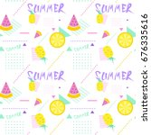 summer seamless pattern with... | Shutterstock .eps vector #676335616
