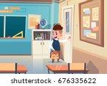 small school boy in classroom ... | Shutterstock .eps vector #676335622