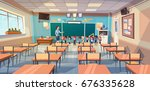 school children group with... | Shutterstock .eps vector #676335628