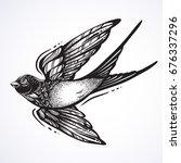 blackwork tattoo flash.... | Shutterstock .eps vector #676337296