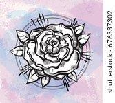beautiful blackwork tattoo... | Shutterstock .eps vector #676337302
